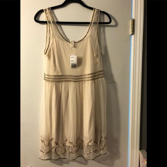 Forever 21 Dresses & Skirts - Forever 21 Cream Dress with Metallic Beading